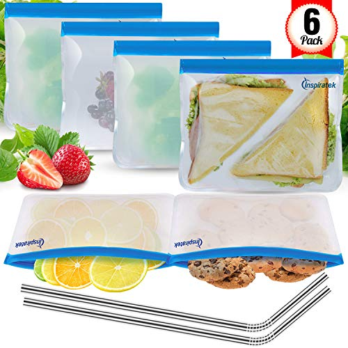 Reusable Storage Bags (EXTRA THICK Set of 6) + Bonus Stainless Steel Straws - Plastic Free Ziplock Food Baggies - Perfect Size for Snack, Sandwich, Kids Lunch - Zipper Lock Top Bag - Freezer, BPA Safe