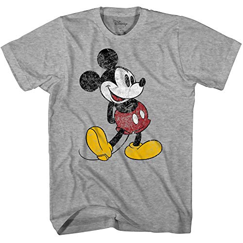 Disney Mickey Mouse Classic Distressed Standing T-Shirt (Heather Grey, Small)