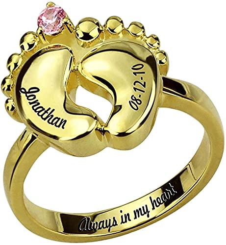 Anillo de plata de ley Anillo de pie de bebé tallado Lakabara con joyería de piedra de nacimiento Adecuado para nuevo anillo de madre Anillo de plata de ley 925 para mujer 10.25 de oro