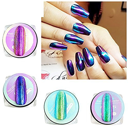 Esmalte de uñas en polvo KADS con efecto espejo brillante, 4 esmaltes de 1g cada una con pigmentos de neón, unicornio, holográfico, aurora, sirena, arco iris para decorar tus uñas