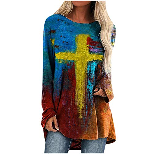 Hotkey Happy Easter Long Sleeve Tops Women, Women's Crewneck Sweatshirts Faith Jesus Cross Printed Pullover Top Blouses Shirt