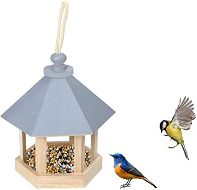Zicth Hanging Birdhouse Hexagon Roof, Durable Wood Bird Feeder Outdoors, Seed Tray Wren Home Shelter with Rope Hanger Garden Yard for Wren Finch, Cardinal, Bluebird