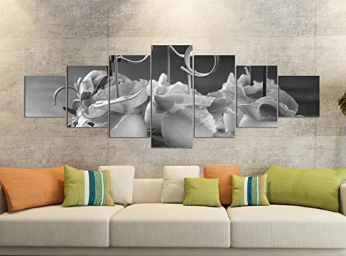 Canvas foto's 7-delig 280x100cm zwart Mediterrane meloen honingmeloen ham eten keuken canvas afbeelding delen delen kunstdruk wandafbeelding meerdelig 9YB2924
