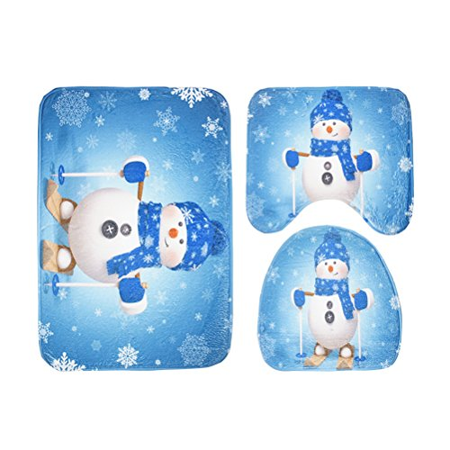 OUNONA 3pcs Christmas Non-Slip Toilet Seat Cover and Rug Set Christmas Bathroom Sets for Christmas Decorations(Snowman with Blue Scarf)
