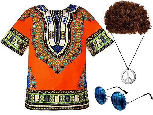 Norme Hippie Costume Set Men's Hippie Shirt Brown Wig Sunglasses Peace Sign Necklace (M/L)