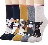 Chalier 5 pares de calcetines para mujer, diseño de perro con estampado de animales, coloridos y divertidos, de algodón, novedosos calcetines