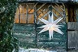 Novaliv Weihnachtsstern 3D Weiss 18 Zack 40 cm Kunststoffstern Dekostern Fensterdeko Weihnachtsdeko Innen Außen Stern beleuchtet