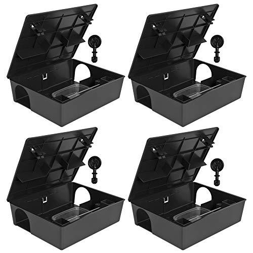 Petigi 4 x Köderstation Kompaktbox Köderbox Mäusebox Rattenbox Falle Nagerköderstation