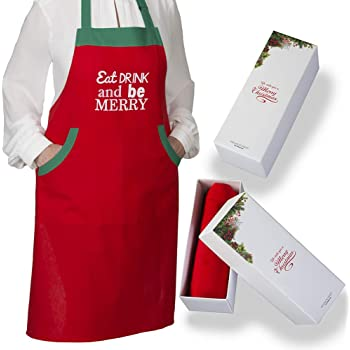 Christmas  Apron With 2 Pockets and Extra Long Ties, This Bib Apron Comes With A Classy Box