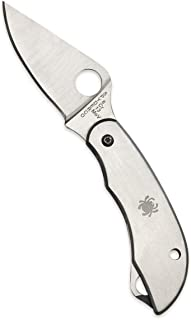 Spyderco ClipiTool Folding Knife - Includes Bottle Opener, Screwdriver, Stainless Steel Handle, PlainEdge, Steel Blade and SlipJoint - C175P