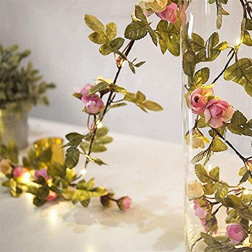 Solar Rattan Lights,Solar Artificial Flower String Lights,5m 50 LED Warm White Ivy Vine String Light Vine Fairy Lights for Party Wedding Garden Christmas Room Porch Decor (Rose)