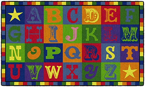 "Flagship Carpets CE191-16W Early Blocks Rug, All 26 Letters Provides a Unique Learning Spot for Everyone, Children's Classroom Educational Carpet, 3' x 5', 36"" Length, 60"" Width, Multi-Color"