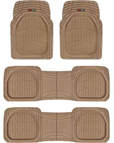 Motor Trend Original FlexTough Beige Rubber Car Floor Mats for 3 Row Vehicles, Front & Rear 2nd Row Deep Dish All Weather Automotive Heavy Duty Trim to Fit, Odorless Liners for Cars Truck Van SUV