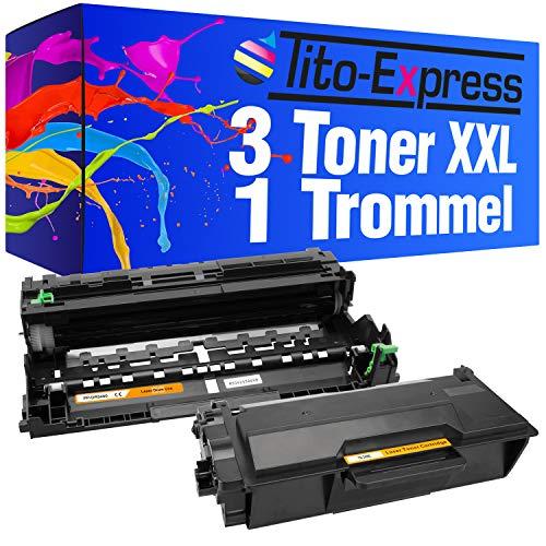 Tito-Express PlatinumSerie 1x Drum & 3X Toner-Patrone XXL ersetzt Brother DR-3400 TN-3480 6300DWT 6400DW 6400DWT 6400DWTT 5700DN 5750DW 6800DW 6800DWT 6900DW | Trommel 50.000