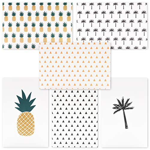 Price comparison product image 48-Pack Greeting Cards Blank Note with Envelopes for All Occasions,  Baby Shower,  Wedding,  Various Pineapple & Palm Tree Designs,  4 x 6 Inches