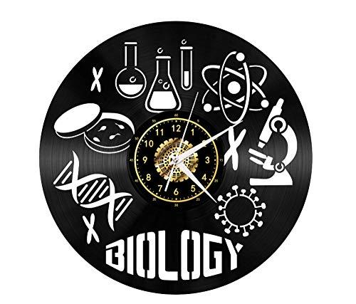 Menddy Biologie Mikroskop Schallplatte Wanduhr Led Leucht Gedenken Handgefertigte Kunst Schlafzimmer Dekor Geschenk Keine Led-Licht 12 Zoll