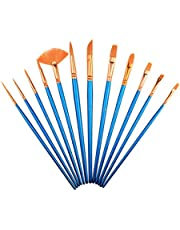 Paintbrush Sets Nylon Hair SAYEEC 12 Pcs Artist Professional Watercolour Paint Brushes Fine Deatil Paint Brush Round Flat for Watercoluor/Oil/Acrylic/Crafts/Face/Nail Painting