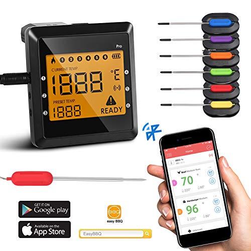 MIGVELA Bluetooth-Ofen BBQ Grill Thermometer Fleisch Küche 6 Sechs Sonde Mit APP