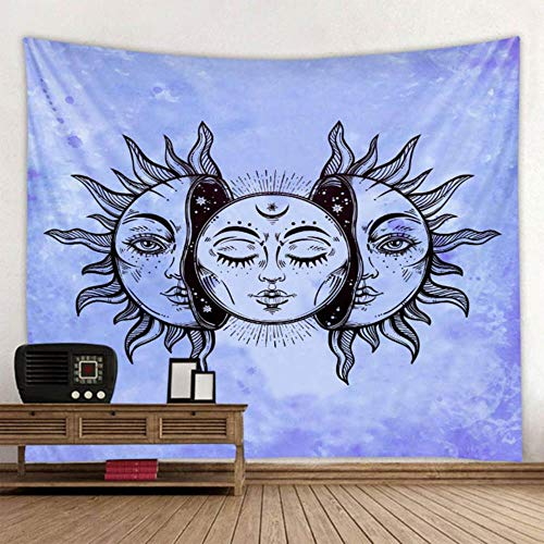 Miwaimao Hot sun and moon goddess print black and white color tapestry tapestry decorative background of various sizes,blue,2000 MMX1800 MM