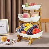 Obst Etagere Keramik 3 Stöckig,Obstschale Etagere 3 Etagen Porzellan mit Natürlichem Bambus Ständer,Dekorativer Obstkorb Etagere für Obst,Gemüse,Kuchen