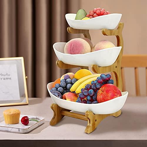 3 Tier Ceramic Fruit Basket, Vintage Fruit Basket with...