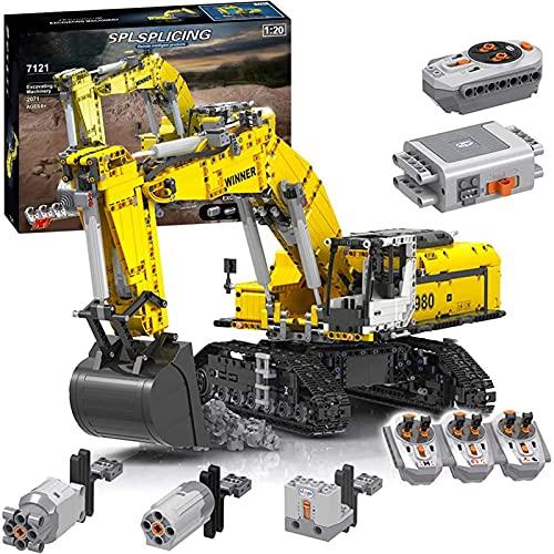 Technic Excavadora de control remoto, 2071 piezas 2.4G RC excavadora Excavadora de orugas motorizada con 6 motores, compatible con Lego Technic A,68 * 25 * 27cm