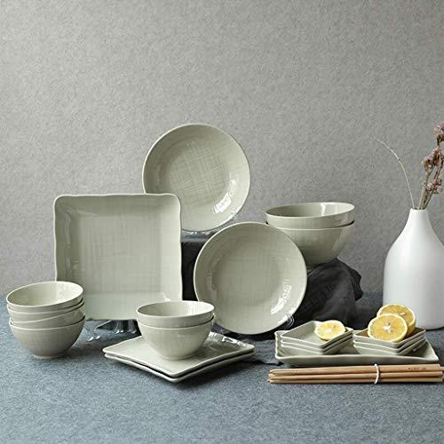 COOLSHOPY Juego de vajilla de cerámica, cuenco/cuchara/plato, estilo nórdico, 26 piezas, para fiestas familiares y restaurantes