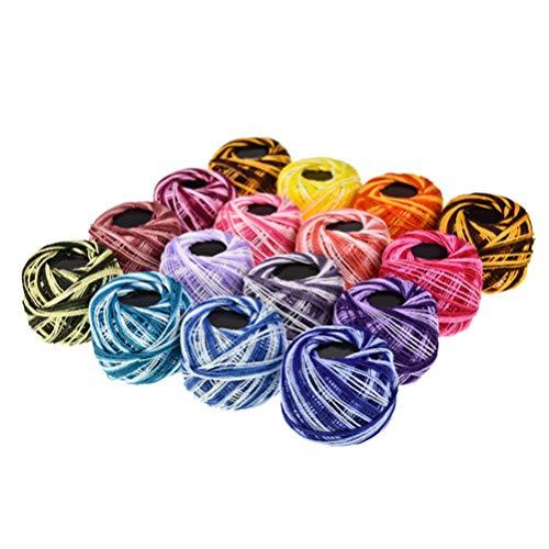 Milisten 16 rollos de hilo de bordar, rollo de hilo de algodón de colores para ganchillo, hilo de punto de cruz, suministros de costura (colores variados), algodón, Color mixto, 4.5*4.5*4.5cm