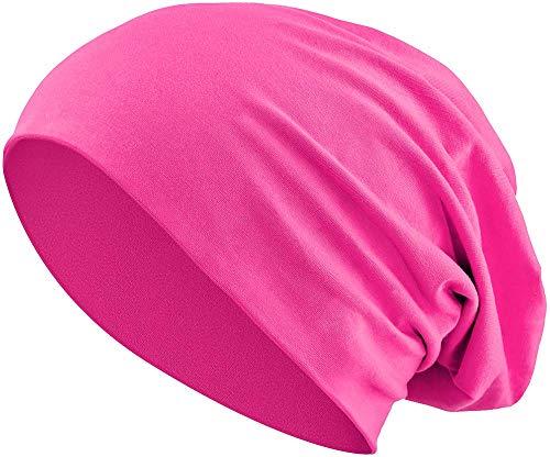 Jersey Baumwolle elastisches Long Slouch Beanie Unisex Mütze Heather in 35 (3) (Pink)