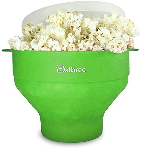 Original Salbree Mikrowellen-Popcorn-Drucker, Silikon-Popcorn-Maschine, faltbare Schale, BPA-frei, 15 Farben erhältlich (grün)