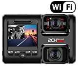 lesgos Dash Cam with Infrared Night Vision and Wifi, Dual 1080P Front