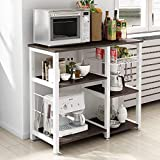 soges Kitchen Baker's Rack Utility Microwave Oven Stand Storage Cart Workstation Shelf with Basket Large Size, Black,W5S-Sch-SF