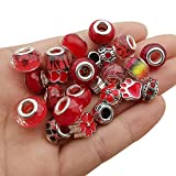 50pcs Assorted Red Resin Imitation Glass European Large Hole Beads Rhinestone Metal Spacer Charms Bead Assortments for DIY Crafts Bracelets Necklaces Jewelry Making (M573-Red)