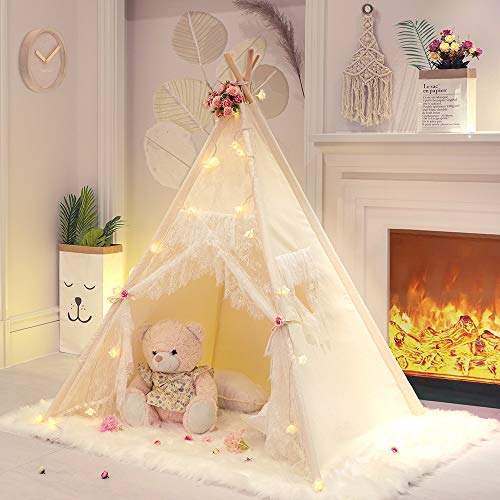 Tree Bud Lace Teepee Tent for Girls Tipi Tent Ivory Canvas Classic Play Tent / House Indoors for Kids Toddles Room Décor
