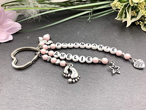 Schlüsselanhänger Patentante rosa, Geschenk Patenschaft, Acryl oder Edelsteine