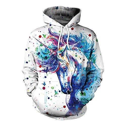 Bonamana niedlichen Cartoon Einhorn Hoodie Pullover mit Taschen Langarm Oberbekleidung Jacke Sweatshirt (L, A)