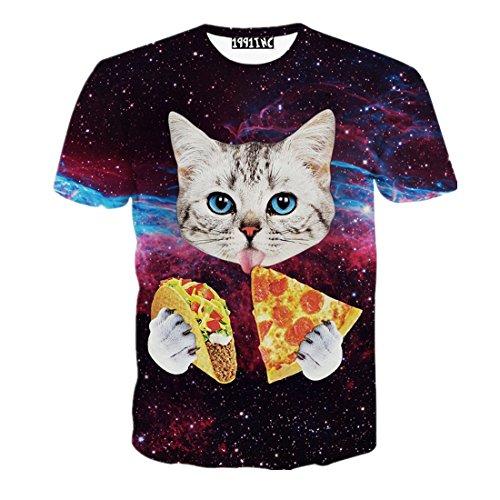 Men's 3D Cat Pizza Print T-Shirts L