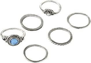 Vintage Knuckle Ring Set Crystal Bohemian Midi Rings Set Rhinestone Joint Knuckle Nail Midi Ring Set For Women Girls Set Of 6