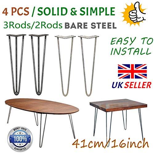 16inch metalen tafelpoten 41cm kaal staal haarspeld tafel been stevig 3 staaf midden eeuw moderne meubels industriële stijl 10mm voor bureau eettafel DIY meubels, met beschermpoten & schroeven (Set van 4) 2Rods Bare Steel