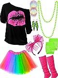 80s Costume Accessories Set T-Shirt Tutu Headband Earring Necklace Leg Warmers (XL, Rainbow)