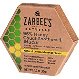 Zarbee's Naturals 96% Honey Cough Soothers + Mucus with Ivy Leaf Extract, Lemon Menthol Flavor, 14 Count
