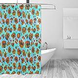 VINISATH Duschvorhang,Lebendiger Neon Bunter Tierdruck nahtlos,wasserdichter Badvorhang mit 12 Haken Duschvorhangringen 180x180cm