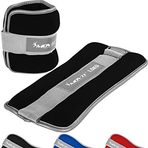 Movit® 2er Set Gewichtsmanschetten Neopren mit Reflektormaterial Laufgewichte für Hand- und Fußgelenke 2X 0,5 kg schwarz