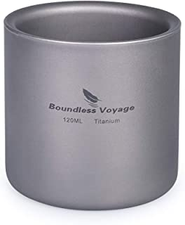 Boundless Voyage Double Walled Titanium Cup Insulated Outdoor Camping Mug Tableware 120ml 180ml 300ml