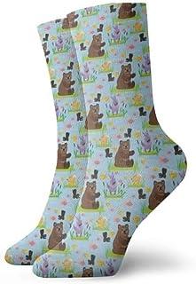 Jhonangel, Bear Character Teddy Pose Socks Crew para Hombres Mujeres Niños, Trekking, Rendimiento, Exterior 30 cm / 11.8 pulgadas
