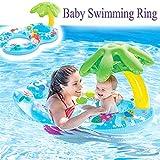 Kyman Asiento Inflable de natación del bebé Anillo de Seguridad con la Madre Agua colchón de la Cama Circlesunshade Tubo Balsa Juguetes for la Piscina de flotación