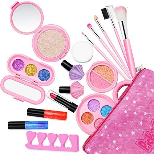 Maquillage Enfant Fille Bio Lavable - Palette Coffret Malette Maquillage Enfant RéAliste - Trousse Maquillage Enfant - Jouet Coiffeuse Enfant Fille Pour Barbie Princesse Cadeau Filles 4 6 7 8 10 Ans