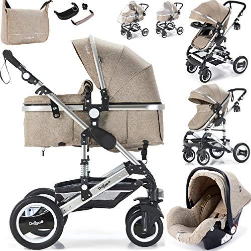 Daliya Bambimo 3 in 1 Kinderwagen - Kombikinderwagen Riesenset 14-Teilig incl. Babywanne & Buggy & Auto-Babyschale - Alu-Rahmen/Voll-Gummireifen - Wickeltasche/Regenschutz/Kindertisch in Khaki