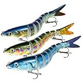 Magreel Swimbaits Lures Multi Jointed Fishing Swimbaits Slow Sinking Hard Lure Fishing Kit for Bass, Trout, Pike, Perch...
