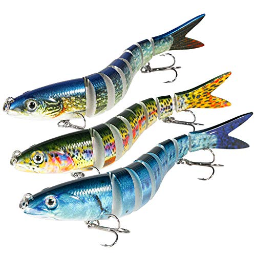 Magreel Swimbaits Lures Multi Jointed Fishing Swimbaits Slow Sinking Hard Lure Fishing Kit for Bass, Trout, Pike, Perch 1 Pack/3 Pack